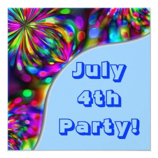 """July 4th Party! Invitation 5.25"""" Square Invitation Card"""