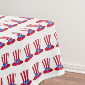 July 4th Patriotic USA Uncle Sam Stars Stripes Hat Tablecloth