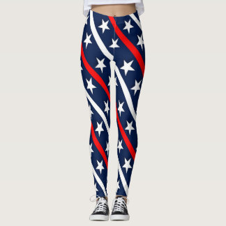 July 4th red, white and blue pattern leggings