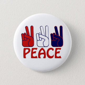 July 4th Red White & Blue Peace Button