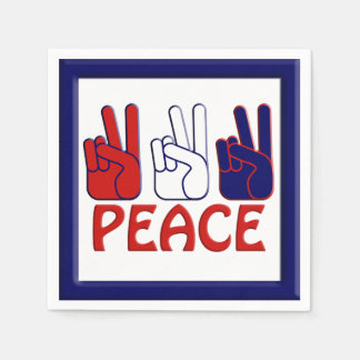 July 4th Red White & Blue Peace Party Napkin Disposable Napkin