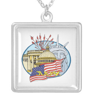 July 4th silver plated necklace