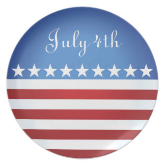 July 4th Stars and Bars Patriotic Plate