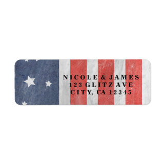 July 4th Stars Stripes Red White Blue USA Labels