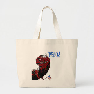 July 4th T Rex Large Tote Bag