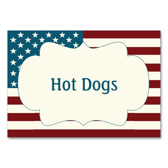 July 4th Table Cards | Patriotic Food Labels