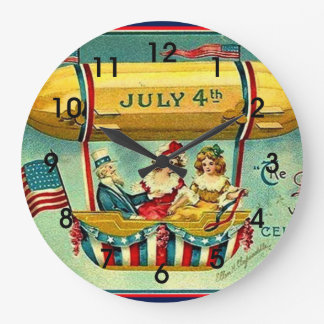 July 4th - The Day We Celebrate Large Clock