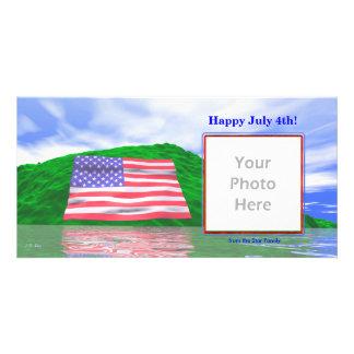 July 4th - U.S. Flag Landscape Photo Card Template