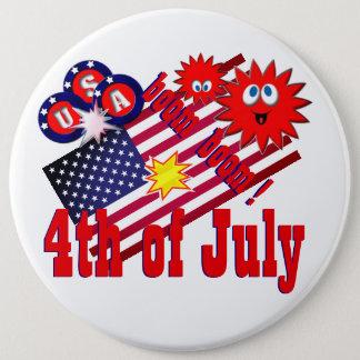 July 4th USA 6 Inch Round Button