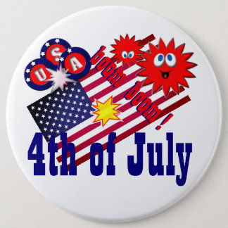 July 4th USA 6 Inch Round Button