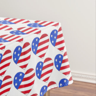 July 4th USA Patriotic Stars Stripes Heart Print Tablecloth