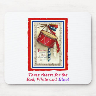 July 4th Vintage Marching Drum Red White & Blue Mousepad