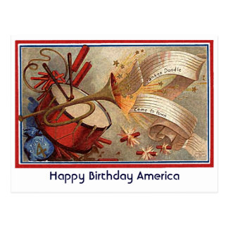 July 4th vintage yankee doodle postcard