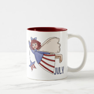 July Angel Summer Patriotic Design Two-Tone Coffee Mug