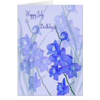 July Birthday Card with Larkspur, the July Flower