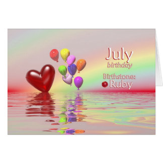 July Birthday Ruby Heart Card