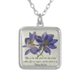 July Larkspur bible verse Necklace
