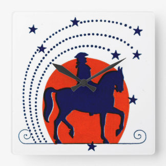 July the 4th horse patriotic Independence Day Wallclock