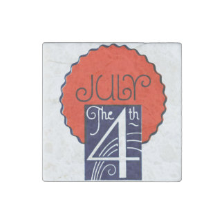 July the 4th mod retro patriotic Independence Day Stone Magnets
