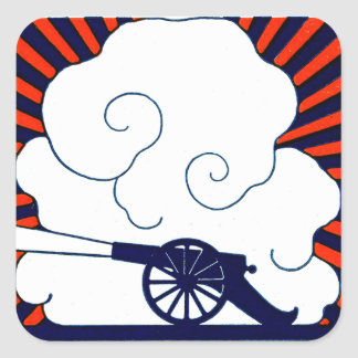 July the 4th vintage cannon artillery patriotic square sticker
