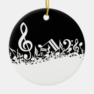 Jumble of Musical Symbols Ceramic Ornament