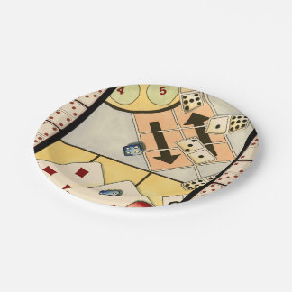 Jumbled Assortment of Games of Chance 7 Inch Paper Plate