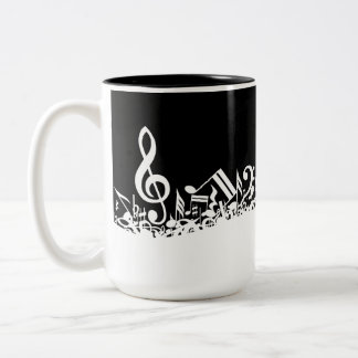 Jumbled Musical Notes Black and White Mugs