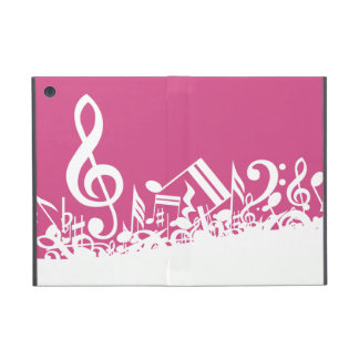 Jumbled Musical Notes Hot Pink and White iPad Mini Cover