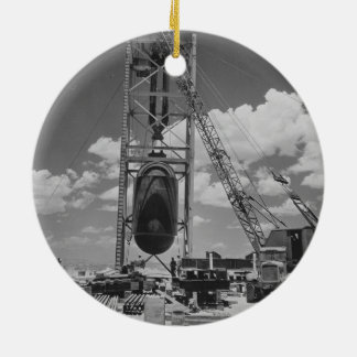 Jumbo Atomic Bomb Positioned for Trinity Test Round Ceramic Ornament