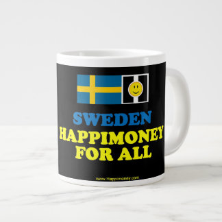 jumbo black mug SWEDEN, HAPPIMONEY FOR ALL