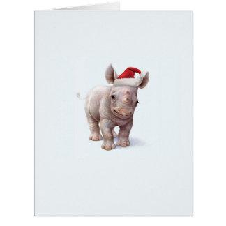 Jumbo Christmas Zoo Babies Rhino Christmas Card