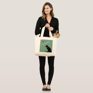 Jumbo I Love Cats Aqua And White  Graphic Tote