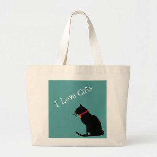 Jumbo I Love Cats Blue And White  Graphic Tote