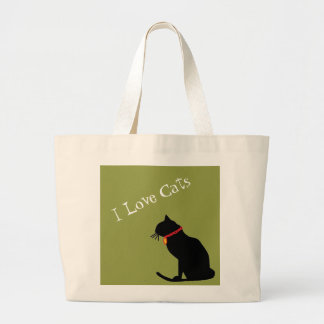 Jumbo I Love Cats Green And White  Graphic Tote