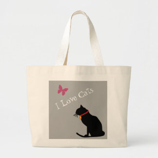 Jumbo I Love Cats Grey  And White  Graphic Tote