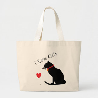 Jumbo I Love Cats Red Heart And White Graphic Tote