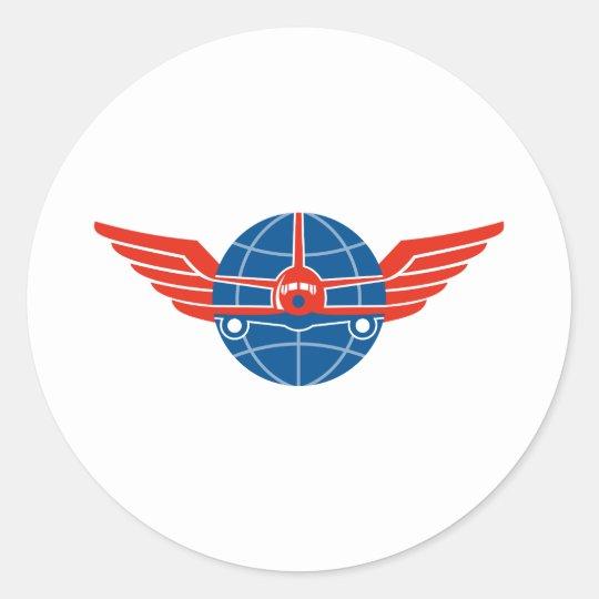 Jumbo Jet Plane Front Wings Globe Classic Round Sticker