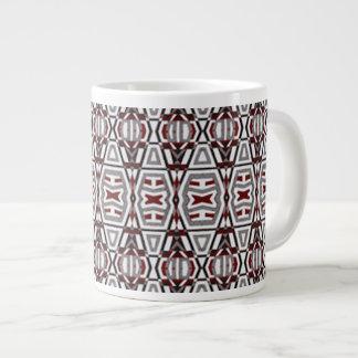 Jumbo Large Coffee Mug Cup Red Grey Motif