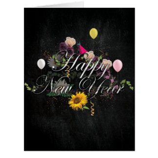 Jumbo New Year Chalk and Roses New Year Card