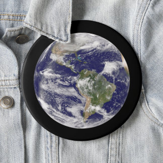 Jumbo Planet Earth from Space Photograph 6 Inch Round Button