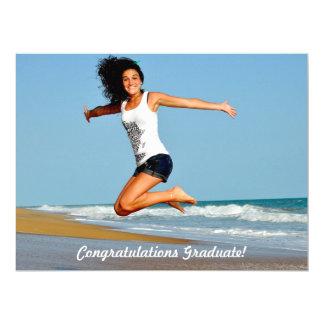"Jumbo Sized Photo Sand Heart Casual Graduation 6.5"" X 8.75"" Invitation Card"
