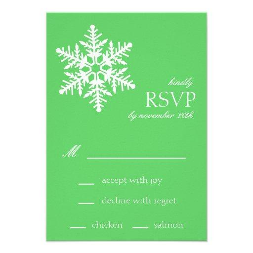 Jumbo Snowflake RSVP Cards (Lime Green)