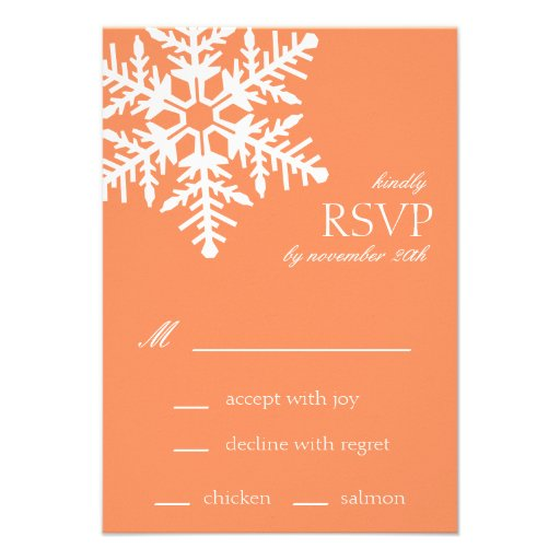 Jumbo Snowflake RSVP Cards (Orange) Personalized Invites