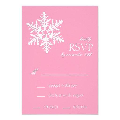 Jumbo Snowflake RSVP Cards (Pink) Custom Invitations