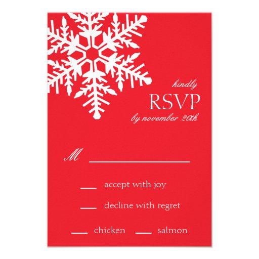 Jumbo Snowflake RSVP Cards (Red) Invites
