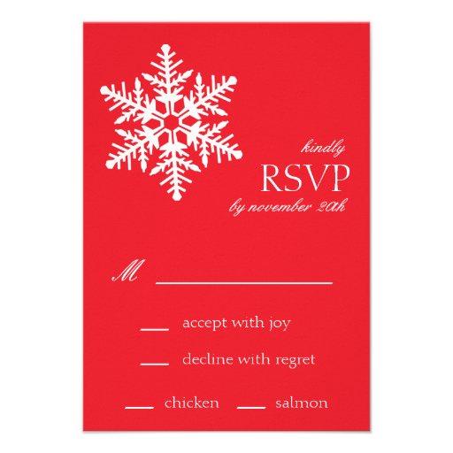 Jumbo Snowflake RSVP Cards (Red) Custom Announcement