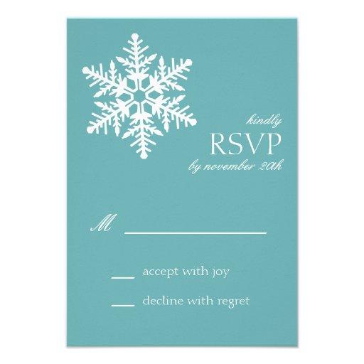 Jumbo Snowflake RSVP Cards (Sea Foam) Custom Invitations