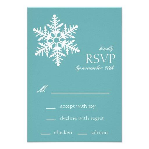 Jumbo Snowflake RSVP Cards (Sea Foam) Custom Invitation