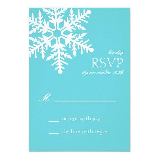 Jumbo Snowflake RSVP Cards (Teal) Custom Invite