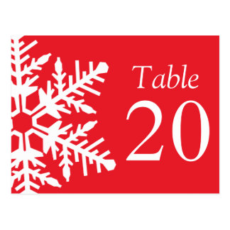 Jumbo Snowflake Table Numbers Red White Post Cards